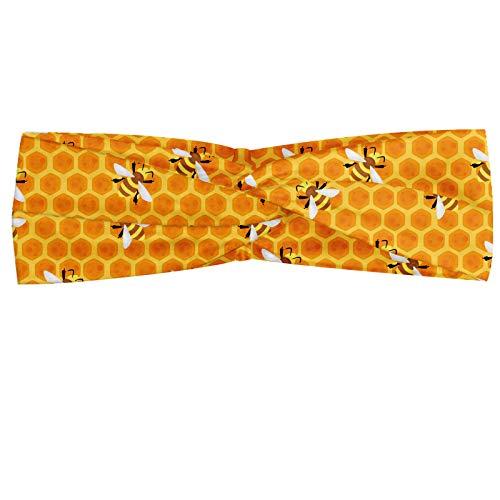 ABAKUHAUS Animal Art Hoofdband, Bijen op honing Combs Art, Elastische en Zachte Bandana voor Dames, voor Sport en Dagelijks Gebruik, Mosterd en Orange