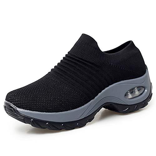 HKR Laufschuhe Damen Atmungsaktive Turnschuhe Bequem Slip On Sneaker Arch Support Sportschuhe Schwarz/42 EU