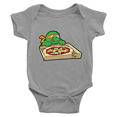 Hungry Ninja Infant Baby Clothes Onesies Bodysuits Shower Gift Cute Turtles Pizza (3-6 Months, Light Grey)