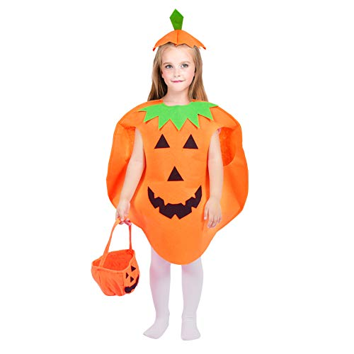 Jack O Lantern Halloween Pumpkin Costume Set for Kids Orange Children Cosplay Party Clothes