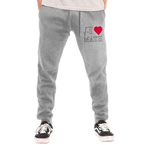 I Love Math Heart1 Sweatpants Jogger Pant Men Pajama Pants for Outdoor Exercising Gym Gray