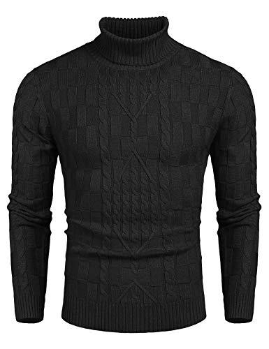 COOFANDY Herren Rollkragenpullover Feinstrick Langarmshir Basic Regular fit Sweater Pulli Gerippten Bündchen Schwarz XL