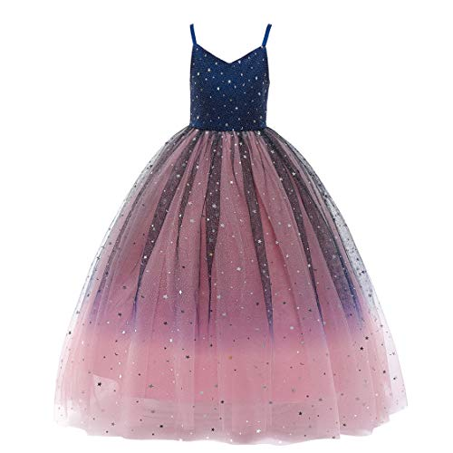 Glamulice Princess Sparkle Tulle Dress Flower Girl Lace Little Girls Bridesmaid Dresses for Wedding Party Pageant Dance Ball Gown Blue/Blush Sparkly Ballgown (5-6Y, V-Navy + Pink - Ankle Length)