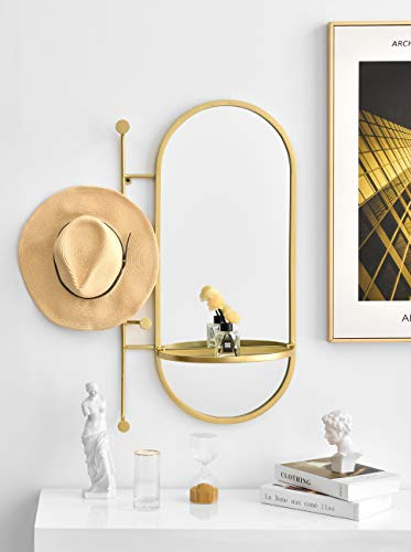 BIKARSOUL Oval Wall Mirror with Shelf and Hooks Iron Gold Framed Wall Mirror for Entryway Bathroom Living Room Bedroom 21.5' 6.10' 32.7'