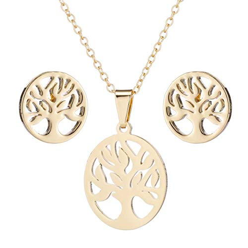 VIIRY Tree of Life Necklace Earrings Stud Ear Set,Fashion Dainty Gold Silver Pendant Necklace Friendship Jewelry Gift for Women Girls