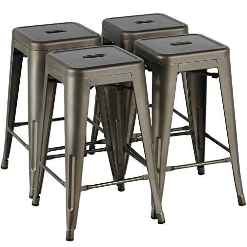Yaheetech Set de 4 Piezas Taburetes de Bar Taburetes Industriales Altura 60 cm Silla Cocina Comedor