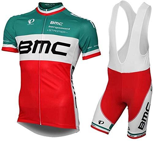 URPRU Herren Pro Rennen Team BMC MTB Radbekleidung Radtrikot Kurzarm und Tr?gerhose Anzug Bib Shorts Suit-D_4XL