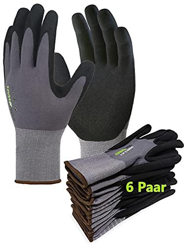 Gentle Monkey 6Paar Arbeitshandschuhe Nitril beschichtet Schutzhandschuh Ergonomisches Design Gartenhandschuhe Montagehandschuhe für Damen und Herren mit hervorragenden Griff Bauhandschuhe (10/XL)