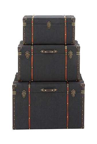 Deco 79 55789 Wood, Linen, Iron and Faux Leather Luggage Trunks, 24' x 28' x 32', Darkblue/Red/Brown