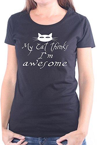 Mister Merchandise Ladies Damen Frauen T-Shirt My cat Thinks I'm Awesome Nackkatze siam Katzenhaar Frauchen Tee Mädchen Bedruckt Schwarz, XL