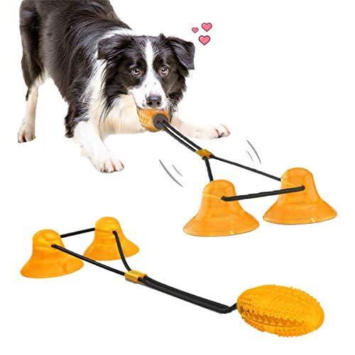 Juguetes para masticar perros para masticadores agresivos, con 2 ventosas Juguete para perros Cachorros Entrenamiento para perros Trata de dentición Juguetes de cuerda para el aburrimiento, Rompecabe