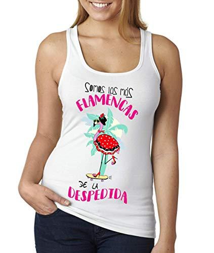 FUNNY CUP Camiseta Somos Las Más Flamencas de la Despedida. Despedia de Soltera parar Amigas o Novia (M, Tirantes)