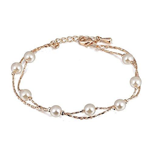 Pulsera con Cristal Swarovski Perlas Blancas simuladas 18k Chapado en Oro para Mujer 20 cm