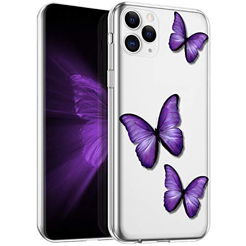 Kompatibel mit iPhone 11 Pro Max Hülle Silikon Transparent Handyhülle Schmetterling Blumen Muster Ultra Dünn TPU Silikon Handy Hülle Schutzhülle Durchsichtig Case Cover für iPhone 11 Pro Max