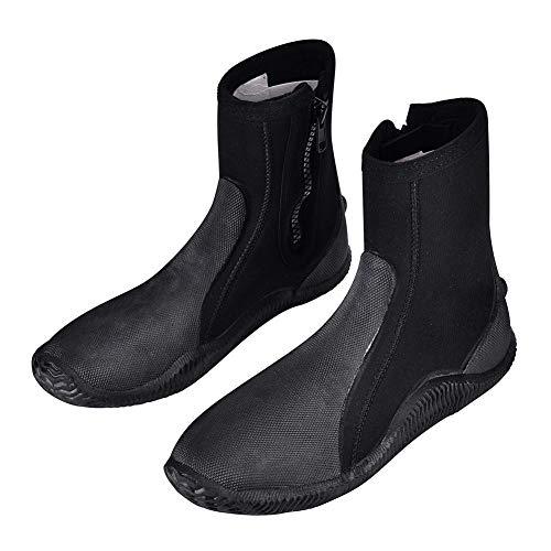 ZXLIFE@@ Hoge Elasticiteit Snorkeling Schoenen, 5mm Lange Sectie Wetsuit Schoenen, Strand Surf Schoenen, Anti-slip Water Schoenen met Zelfsluitende Ritssluiting, Warm Keep 12