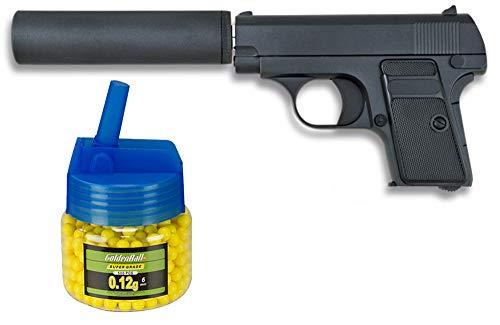 Tiendas LGP, Albainox 35555 Arma Airsoft, Pistola Aire Suave, con silenciador, Potencia 0,8 Julios + Biberón 500 Bolas 12 Gramos de 6 mm. de Regalo
