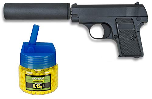 Tiendas LGP, Albainox 35555 Arma Airsoft, Pistola Aire Suave, con silenciador + Biberón 500 Bolas 12 Gramos de 6 mm. de Regalo