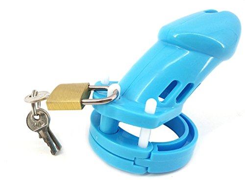 Bande de ceinture de dispositif de chasteté mâle bleu Bantie w/serrures en laiton et étiquettes de numéro de verrouillage (long)
