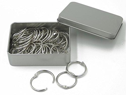 Shapenty 1 Inch Diameter Nickel Plated Metal Paper Book Loose Leaf Binder Ring Keychain Key Ring, 50PCS/Box