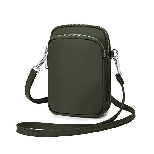 Wind Took Handy Schultertasche Kleine Damen Umhängetasche Handytasche Brieftasche Kartentasche Crossbody Bag Mini Sack, Armee grün