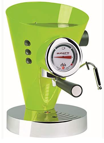 BUGATTI, Diva, Machine à Café Expresso et Cappuccino, Pour Café Moulu et Dosettes, 15 Bar, 950 W, Capacité 0,8 Litre, Design Élégant, Couleur Pomme verte