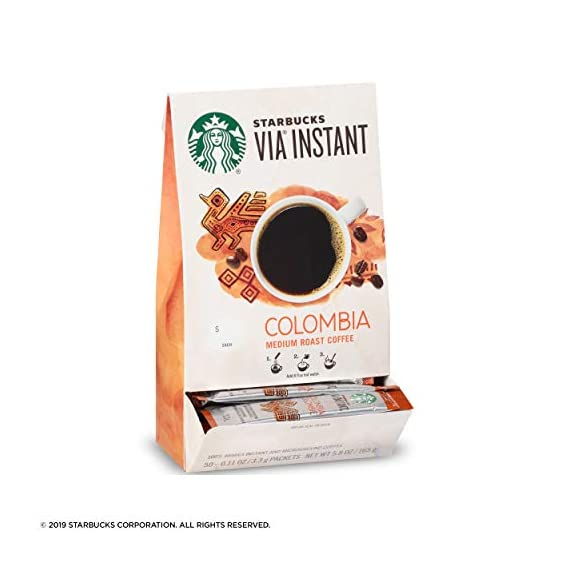 Starbucks VIA Ready Brew Colombia Coffee, 50-Count 9 Made only with high-quality arabica coffee beans Starbucks via instant Italian Roast coffee is roast and sweet with a rich, deep flavor and notes of caramelized sugar Just tear open a packet of Starbucks via instant Italian Roast coffee, add hot water, wait 10 seconds and stir. No coffee machine or grinder needed