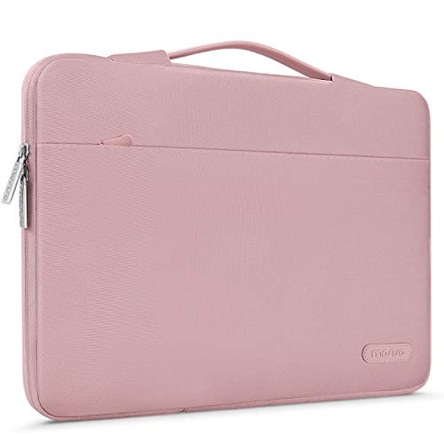 MOSISO Maletín Compatible con 13-13.3 Pulgadas MacBook Air/MacBook Pro Retina/2019 Surface Laptop 3/Surface Book, Funda Blanda Protectora 360 Multifuncional Bolso con Correa de Carro, Rosa