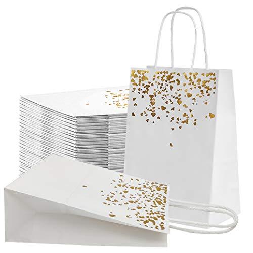 JJYHEHOT Bolsas Papel Kraft De Regalo, Bolsa De Papel Bronceadora Blanca Con Asa, Exquisito Diseño (20 Piezas)