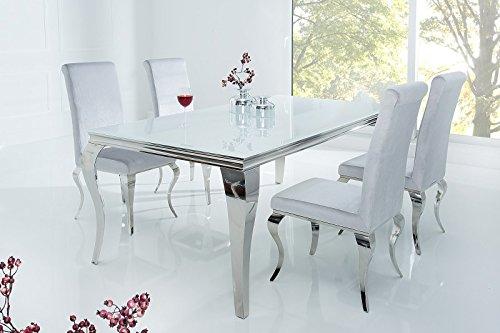 Dolsofa - Mesa de comedor moderna en barroco, 160 x 90 cm, color blanco
