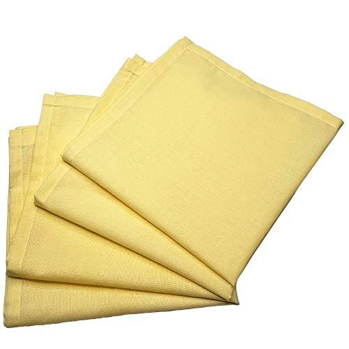 Kit 4 Guardanapos de Tecido Amarelo Pastel Algodão 39cmx39cm