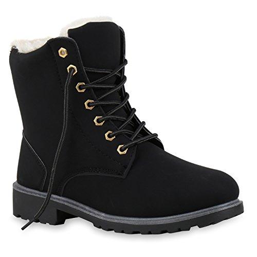 Worker Boots Warm Gefütterte Damen Herren Stiefeletten Knöchelhohe Stiefel Zipper Kunstfell SchnürerOutdoor Schuhe 124552 Schwarz 40 Flandell
