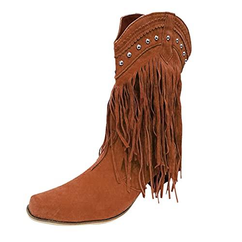 Berimaterry Botas Cowboy de Mujer con Borla Moda Boho Bota Mujer Media Pierna Cremallera Zapatos Invierno Mujer Moda con tacóne Botas Moto Botas Mujer Invierno Botas Mujer Altas Botines Mujer 2021
