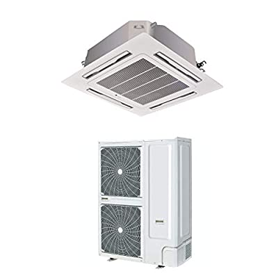 60000 BTU 16kW Super Slim DC Inverter Round Flow Ceiling Cassette Air Conditioner - 4-Way Round Flow Air Conditioning Unit with Heat Pump