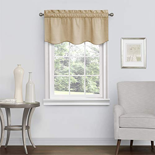 ECLIPSE Canova Blackout Thermaback Window Valance Curtains, 42' x 21', Gold