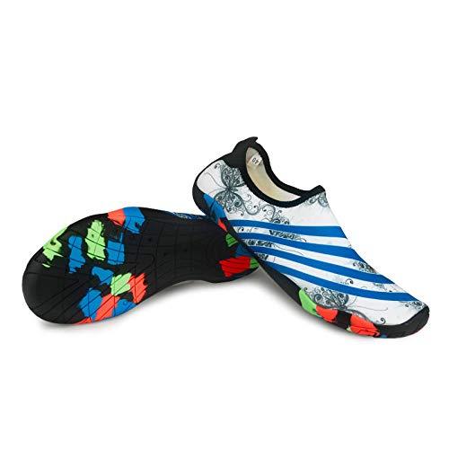 B/H Zapatos de natación, Zapatos de vadeo, Zapatos de Buceo, Zapatos Antideslizantes de Fondo Suave Descalzo-Mariposa Azul_44 Yardas,Secado Rápido Zapatos de Agua,Zapatos de Snorkel para Nadar