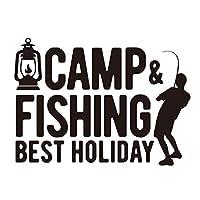 キャンプと釣りは最高の休日! カッティングステッカー (ゴールド, 14)
