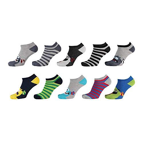 Lieblingsstrumpf24 10er Pack Socken Kinder Jungen Mädchen Baumwolle (Sneaker Socken Monster 31-34)