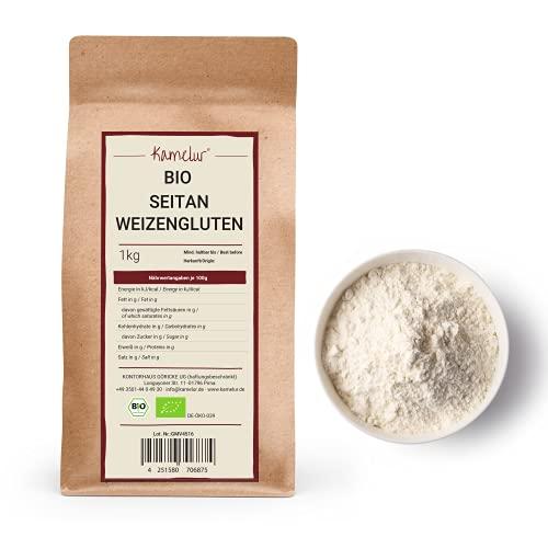 1kg de poudre de seitan BIO sans additifs - gluten de blé comme substitut de viande végétalien - poudre de protéines de blé BIO en emballage biodégradable