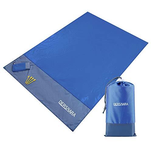 Picknickdecke, Campingmatte 140 × 200 cm, Stranddecke, Picknick-Matte Wasserdicht Sanddicht (Navy blau)