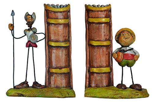 Sujeta libros pareja cerámica Quijote-Sancho Panza
