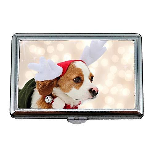Cassa di stoccaggio di 14 scatole di sigarette, cane di Natale cani di arresto carino, scatola di immagazzinaggio caso di supporto del biglietto da visita di credito