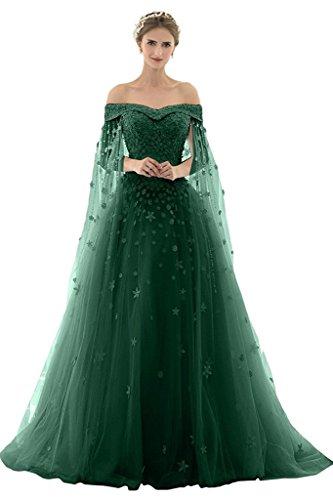 AZNA Damen Prinzessin Spitze Abendkleider Ballkleid Partykleid Hochzeitskleider Lang mit Schleppe Dunkelgrün 56