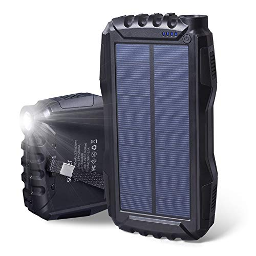LILIS Portable Generator Portable Power Station Solar Charger, 25000mAh Portable Phone Charger High Capacity Solar Power Bank Dual USB 2.1A Output External Battery Charger with Strong LED Light