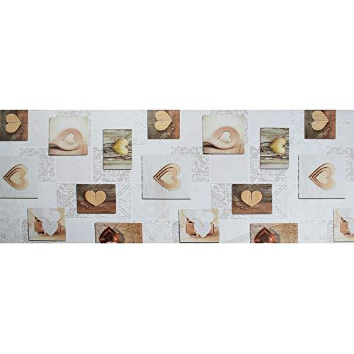 IlGruppone Tappeto passatoia Fantasia Attilia Cuori Antiscivolo Lavabile Varie Misure - Attilia - 50x250 cm