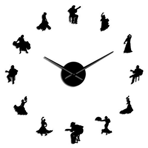 Leeypltm Bricolaje Reloj De Pared Grande 3D Pegatinas,Bailaora de Flamenco 47 Pulgadas Negro Reloj de Cuarzo de Pared silencioso para Decorar La Oficina o Casa。