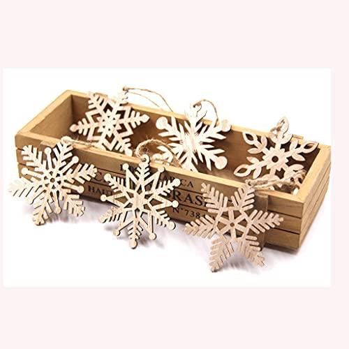 JIUHE 6pcs/Lot Vintage Navidad Copos de Nieve Colgantes de Madera Ornamentos artesanía de Madera for niños Juguetes Decoraciones de Navidad Ornamentos de árbol Regalos (Color : 6pcs-A)