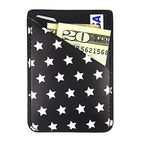 "CalorMixs Stretchy Credit Card Holder for Back of Phone, Cell Phone Pocket Stick On Wallet Card of Phone-Self Adhesive Sticker on Phone Android Smartphones (Fit 4.7"" Phone Above) (Star)"
