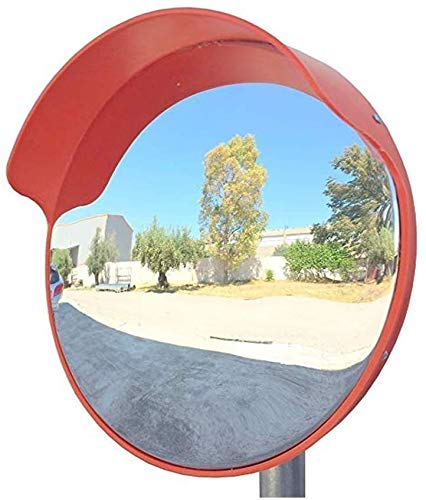 HQY verkeer buiten groothoeklens, convex veiligheidsspiegel, grote ronde spiegel straatkruising gebogen oppervlak buitendraaispiegel polycarbonaat-acryl-verkeersspiegel oranje 80 cm