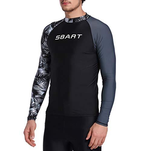 QIMANZI Neoprenanzug Herren Langarm Gerätetauchen Rash Guard UV Sun Schutz Skins Surfen Tauchen Schwimmen-T-Shirt(A Schwarz,M)