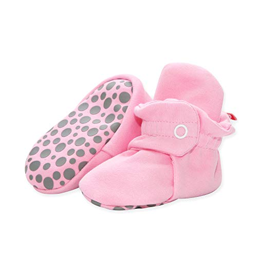 Zutano Organic Cotton Baby Booties with Gripper Soles, Soft Sole Stay-On Baby Shoes, Hot Pink, 3M